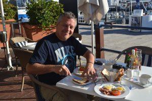 Ontbijt in Waterfront tijdens onze laatste dag in Kaapstad